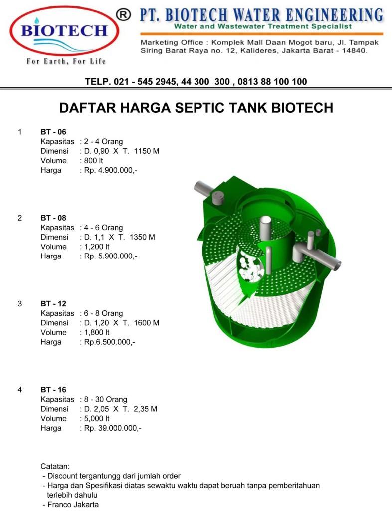 price list biotek, spiteng, daftar harga septic tank biotech