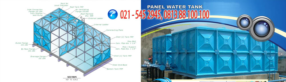panel water tank, tangki air panel fibreglass, roof tank frp